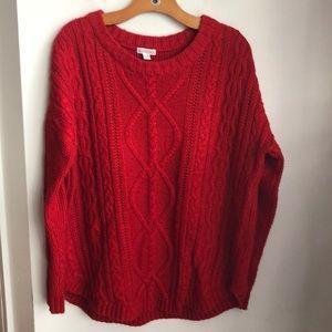 Merona Red Crewneck Cableknit Sweater XL